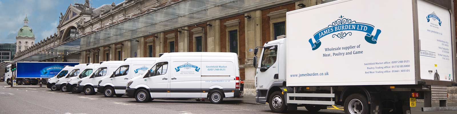 James Burden vehicles pictured outside Smithfield Market, London